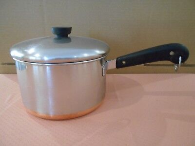 VTG Pre-1968 Revere Ware Copper Clad Stainless Steel 4 Qt Sauce Pan with Lid