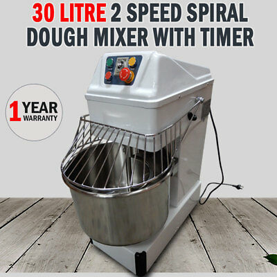 New Commercial 30Litre 2 Speed Spiral Dough Mixer With Timer Pizza Bakery Bread