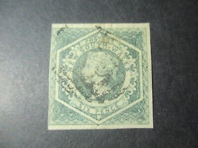 NSW Stamps: 1854 - 55 6d Green Double Lined Numeral Used - Great Item   (q76)