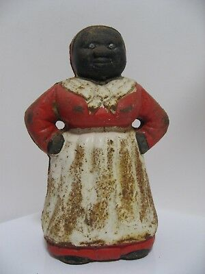 Original Antique Cast Iron Aunt Jemima Black Americana Coin Bank VGC