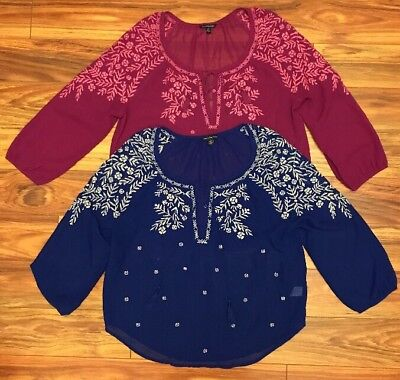 Lot Of 2 American Eagle Women's Embroidered Peasant Tops Size Large