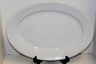 "Antique Wood Son & Co Cobridge Thick White Ironstone China 16 1/2"" Oval Platter"