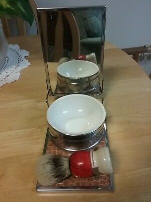 Vintage Shaving Set - Mirror, Bowl, & Brush - Western Germany - Neat!