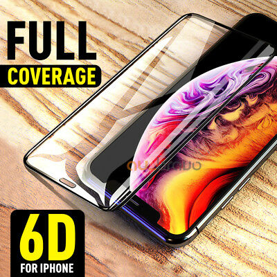 Apple iPhone XS Max XR 8 7 6s Plus Tempered Glass Screen Protector 6D Full Cover