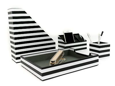 Black White Stripes Desk Organizers And Accessories 4 Piece Caddy