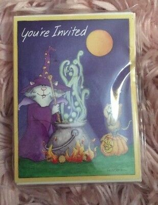 14 Halloween Costume Party Cards Invitations Cat Witch Animals Bear Pirate NEW