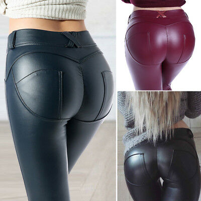 23d7afdb70 Women Sexy PU Leather Yoga Pants Hip Push Up Workout Stretch Leggings  Trousers