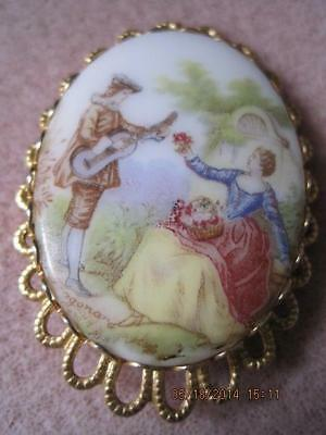 Beautiful COLONIAL LOVERS Large Oval Ceramic Brooch Ornate Back