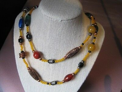 Multicolored and Multishaped Fun & Funky Lucite Beads Vtg Retro Necklace COOL!