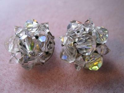 Vtg FACETED CRYSTAL BALLS Clear Ice Silver Tone Clip On Earrings Beautiful