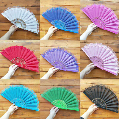 Women Chinese Style Lace Hand Held Folding Fan Ladies Dance Party Wedding Decor