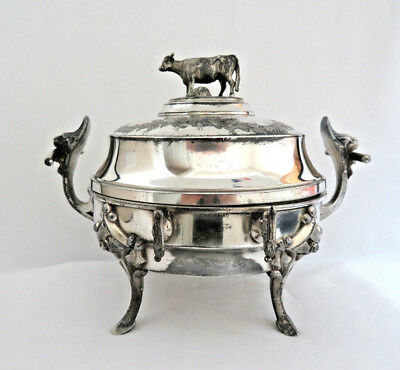 Simpson Hall Miller Silverplated Covered Butter Dish Server Figural Cow Finial