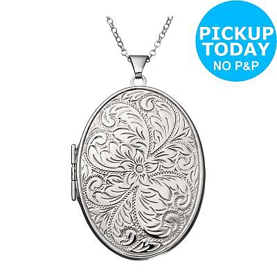 Moon & Back Sterling Silver Large Fancy Oval 2 Photo Locket 22 Inch Necklace