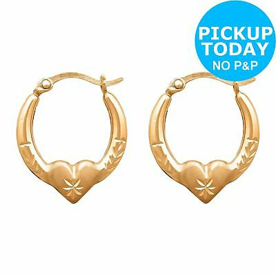 59664f40b Revere 9ct Gold Plated Silver Small Heart Creole Earrings 16.5mm Drop