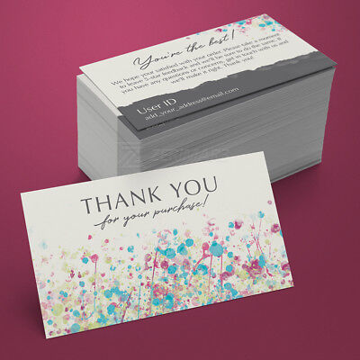 500 Thank You For Your Purchase - Seller Business Cards 16pt UV Gloss Design Pro