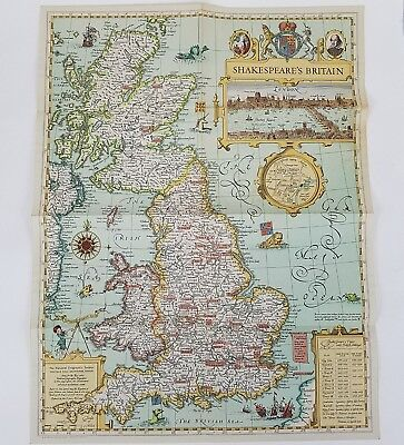 National Geographic Society Map Of Shakespeare's Britain United Kingdom 1964