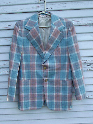 "Vintage 70s/80s Geoffrey Beene Plaid Check Sports Coat/Blazer Hipster~41""Chest"