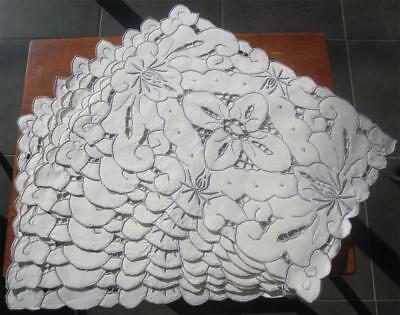 Eight VINTAGE Hand Embroidered/Cutwork TABLE PLACEMATS 'Never Used'