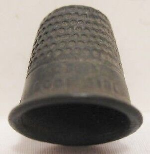 Old Tiny Metal Childs Sewing Thimble signed FOR A GOOD GIRL