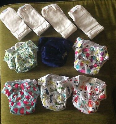 6 x NEW Bambooty Modern Cloth Nappies One Size Fits Most + 4 x Extra Bamboo