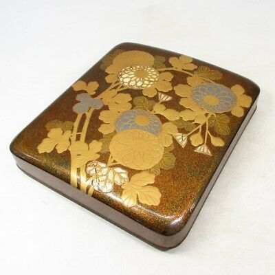 E875: Real old Japanese lacquered ink stone case with wonderful KORIN MAKIE