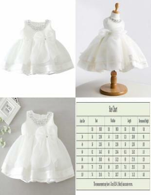 Infant Toddler Girls Easter Christening Dress Crystal Neck Wedding Pageant