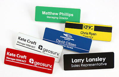 Name Badge Tag Personalised Engraving Colour 76Mm X 25Mm With Magnetic Holder