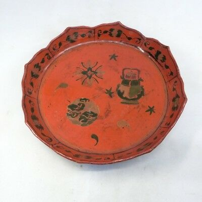 F025: Chinese old lacquer ware tea thing tray with good design.