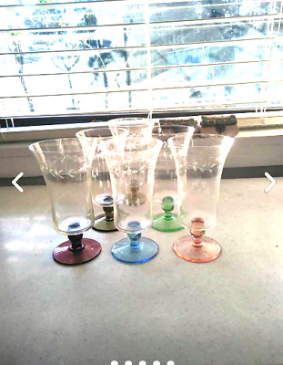 Retro harlequin 6 wine glass set - vintage - collectable - home decor -