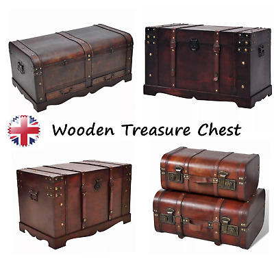 Modern Wooden Treasure Chest Trunk Box Coffee Storage Table Large Home Furniture