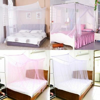 4 Corner Post Bed Canopy Mosquito Net Full Queen King Size Netting Bedding Net