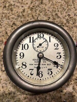 Vintage Keyless Auto Clock Co. 8 Day Usa Rim Wind & Set- Offers Accepted