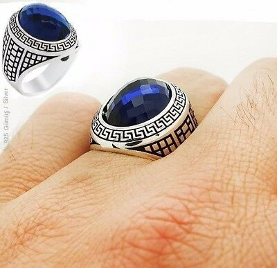 Turkish Handcraft 925 Sterling Silver  Jewelry Sapphire Men's Ring