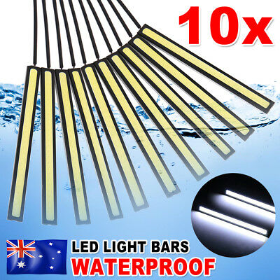 10PCS 12V Waterproof White DRL LED Strip Lights Camping Caravan Boat Car COB AU