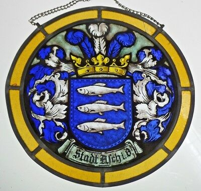 Leaded Glass Window Image Old Championship Stained /Etching Pracht- Coat of Arms