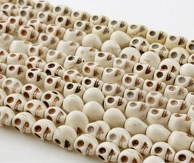 100x White Turquoise Carved Skull Head Howlite Spacer Loose Beads 10mm Wholesale