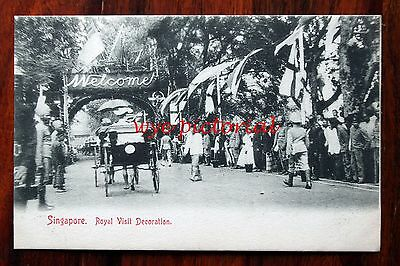 Rare Singapore - Royal Visit Decoration Unused Early 1900's Postcard