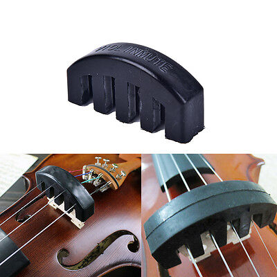 1Pc Violin Practice Mute Heavy Black Rubber Violin Silencer Acoustic ElectricY2F