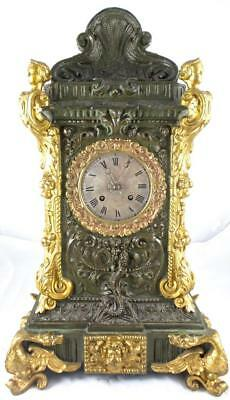 Superb XL Antique 19thc French A.D.Mougin Solid Bronze 8 day Mantel /Table clock