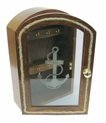 G4607: Nostalgia Key Box, Glass Front with Anchor Motif, 8 Hook, Fine Wood