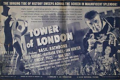 Universal Horror Tower Of London Original Boris Karloff U.s. Movie Herald