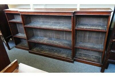 Large Victorian open bookcase in oak. Free UK delivery.