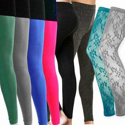 Ladies Womens Lace Footless Dance Tights Black Sparkly Glitter Coloured Opaque