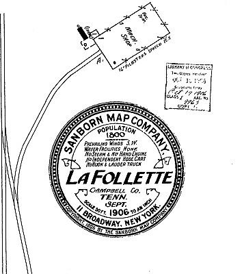 """La Follette, Tennessee~Sanborn Map© sheets~2 maps """"X MARKS THE SPOT TO DIG"""""""