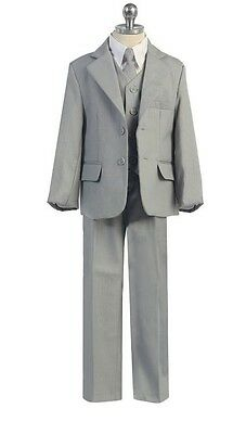 New Boys 5 Piece Grey Gray Formal Suit Single Breasted Wedding Formal Party 230F