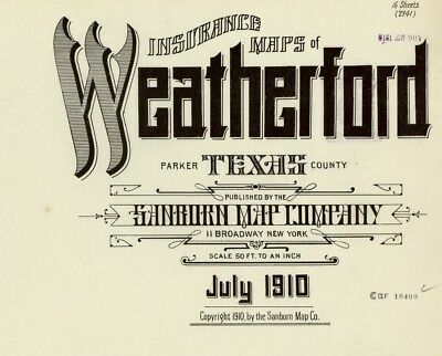 Weatherford, Texas~Sanborn Map© sheets~on CD , color and B W for 1905,1910 color