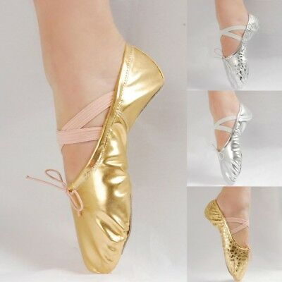 UK Women Adult Child Girl Ballet Dance Sequins Shoes Leather Gymnastics Golden