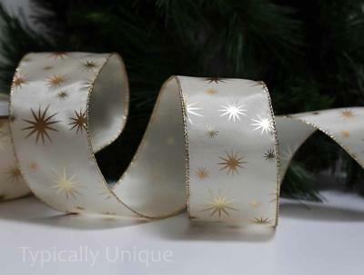 India Jane 10 Yards Wire Edged Gold Star Ivory Ribbon Christmas Gift Wrapping