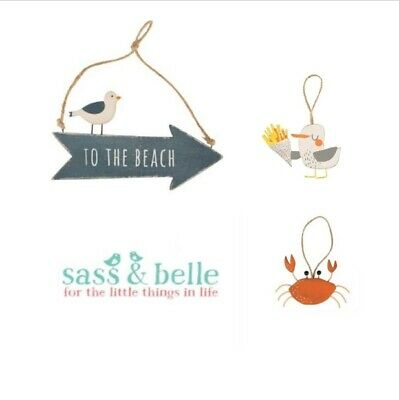 Sass & Belle nautical wooden gifts ~ whale, crab & naughty seagull To the beach!
