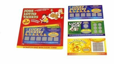 Pack of 3 Fake Joke Lottery Lotto Ticket Scratch Cards. Lottery Laughs